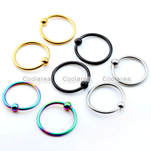 4 Pair Mix Color Steel 16g Tragus Helix Hoop Captive Rings Cartilage Ear Earring