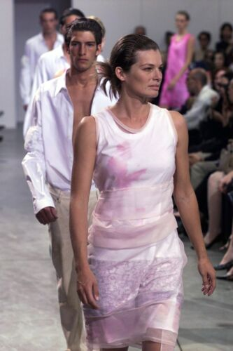 Helmut Lang 1999 S/S Pink See Through Silk / Cotton Dress Leopard / Animal by Helmut Lang