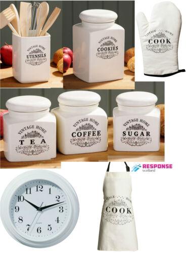 Tea,Coffee,Sugar,Cookie jar,utensils,Apron,S//Glove D//Glove Clock Vintage Ceramic