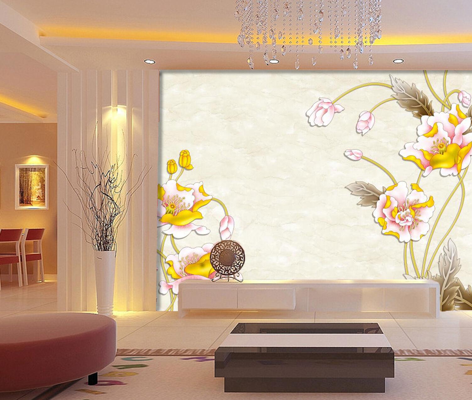3D D'or Lotus 028 Photo Papier Peint en Autocollant Murale Plafond Chambre Art