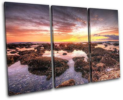 beautiful Shore Sunset Seascape TREBLE CANVAS WALL ART Picture Print VA