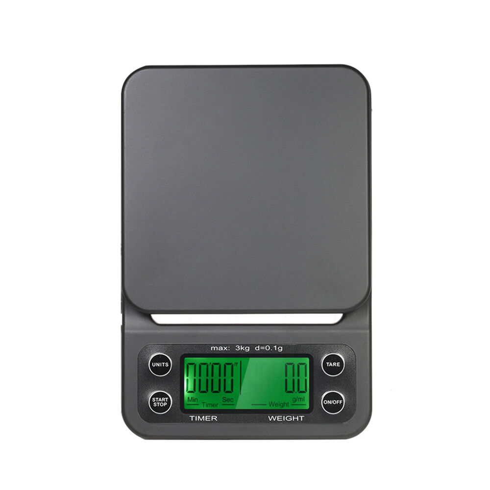HK- 3kg 0.1g Por Electronic LCD Digital Timer Coffee Kitchen Weighing Scale Reli