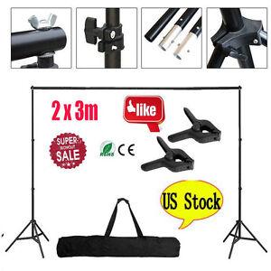 10Ft Adjustable Photography Background Stand Photo Backdrop Crossbar Frame Clip 743828976774