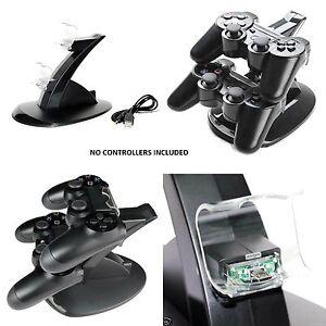Dual-USB-Ladegeraet-Docking-Station-Laden-Staender-PlayStation-4-PS4-Controller