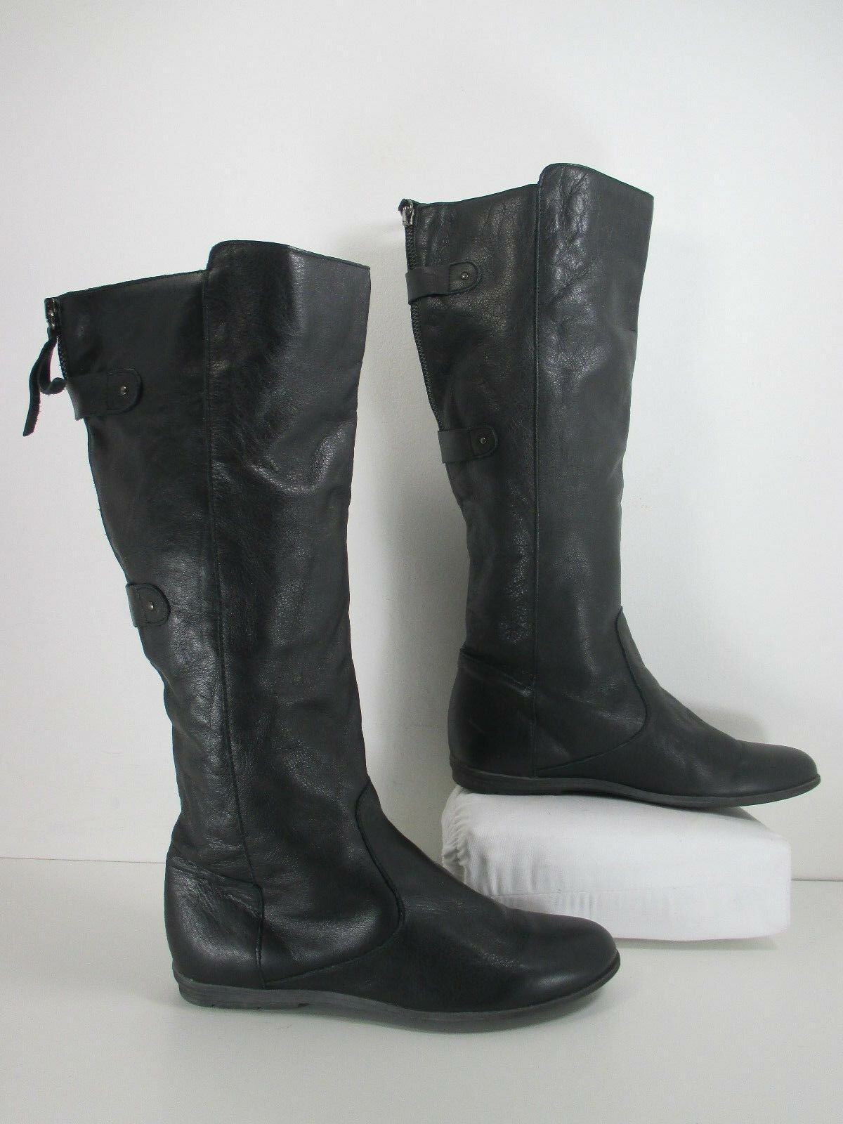 TopShop DOWNTOWN Leather Knee High Fashion Riding Boots Black Size 8.5 EU 39