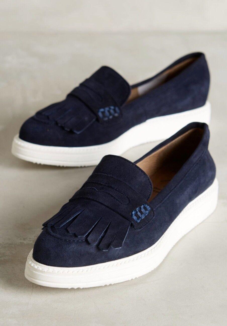 NEW Point Anthropologie KMB blue Suede Point NEW Platform Slip On Fringe Loafer Sneaker 39 c3d9ce