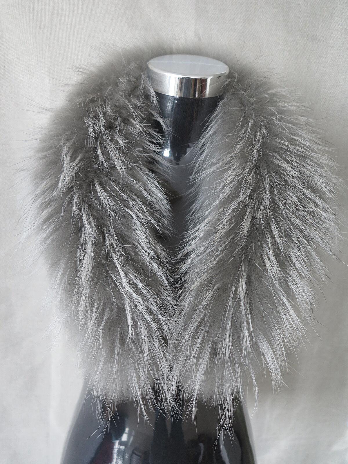 New made Genuine raccoon fur collar/fur scarf grey wrap