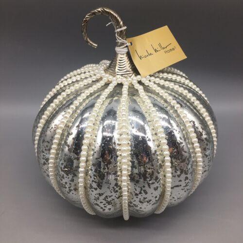 Nicole Miller Silver Mercury Glass Pumpkin Caged Faux Pearl Glam Luxury Decor