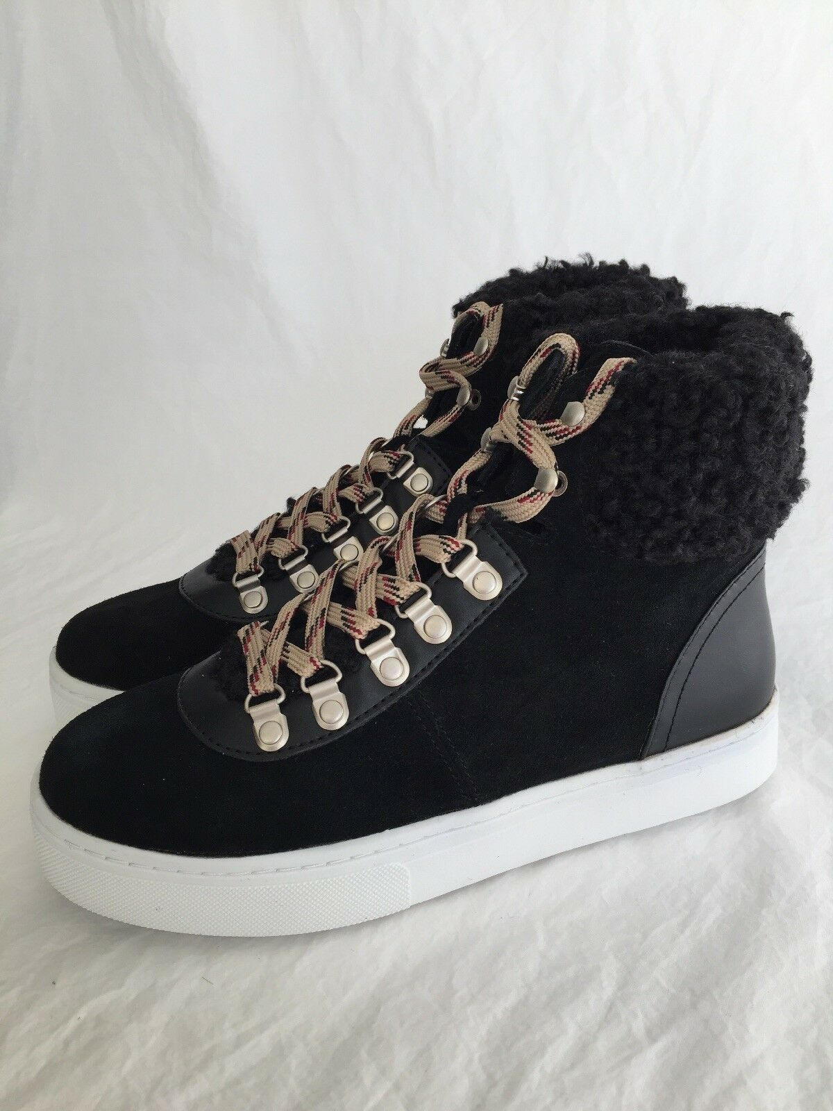Sam Edelman Luther Noir Faux Shearling Suede High Top baskets Chaussures Taille 7.5 m