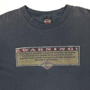 Vtg-Harley-Davidson-T-Shirt-XL-Faded-Black-Distress-034-Warning-034-Funny-Biker-Theme