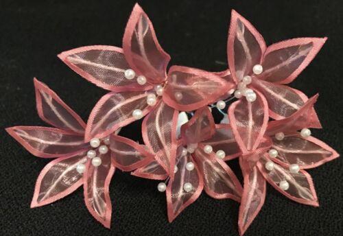 5 Wedding Prom  Shiny Light Peach Lily Flower Hair Pins Clips Grips handmade