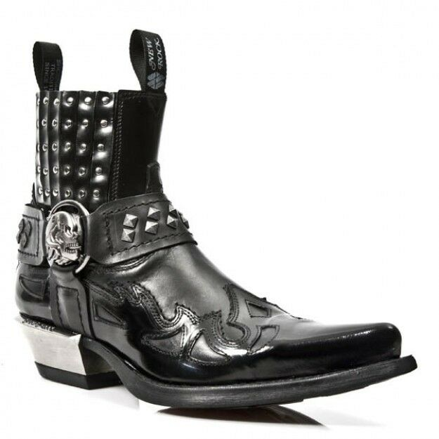 Newrock 7950 S1 Antik Black Itali Black West Neg-Acer Steel Heel 7950-S1