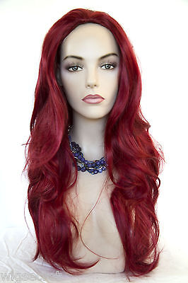 Fire Red Red Costume Long Straight Skin Top Fun Color Wigs