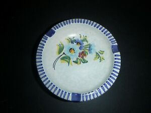 Mid-Century Modern Italy Hand Painted Pottery Souvenir Ashtray Marked Amalfi