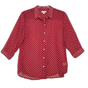 Susan-Graver-Sheer-Red-Polka-Dot-Blouse-Womens-M-Medium-Button-Front-3-4-Sleeve