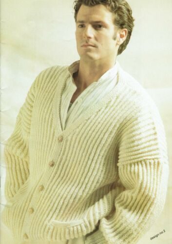 Mans Aran rib stitch cardigan Knitting pattern Warm winter Loose fitting.