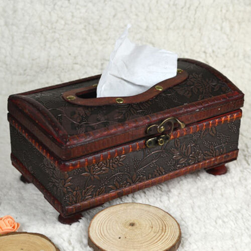 Retro Wooden Rectangular Paper Cover Case Tissue Box Napkin Holder Home Decor