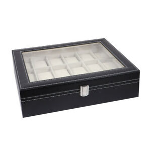 18-Slots-plus-2-Grids-Watch-Display-Case-Ring-Jewellery-Storage-box-organiser-U