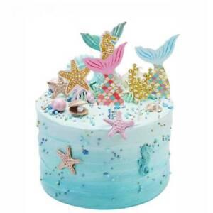Glitter-Mermaid-Cake-Topper-Children-Happy-Birthday-Baby-Shower-Cake-Decor-New