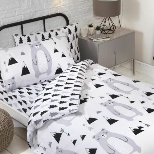 JUNIOR SINGLE DOUBLE SCANDI BEAR CURTAINS DUVET COVER SET FITTED SHEET