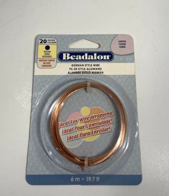 26 gauge COPPER plated Beadalon round German style wrapping wire 65.6ft