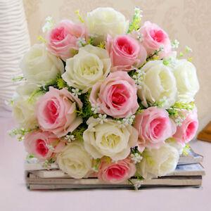 18 Kopfe Kunstliche Pfingstrose Rosen Blumenstrauss Seidenblumen
