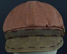 Brown Plaid with pendant cabby news boy paper boy hat cap fitted