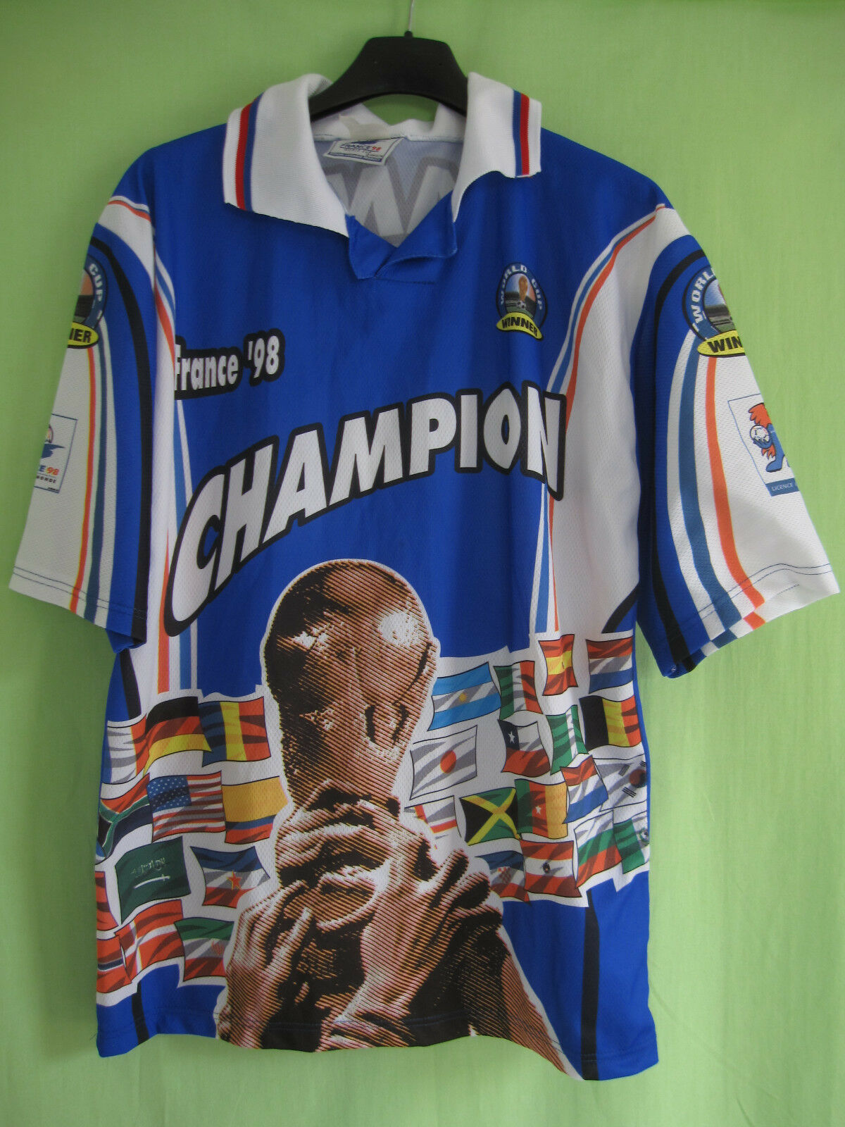 Maillot Equipe de France 98 Footix Champion Vintage Jersey World Cup - S