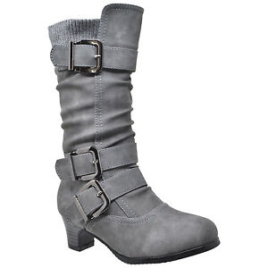 6b0fe2820b1c Kids Ruched Mid Calf Faux Suede Knitted Fabric High Heel Boots Black ...