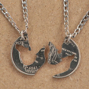 HAND CUT COIN INTERLOCKING WOLF NECKLACE HOWLING FRIENDSHIP BFF NECKLACES FOR 2