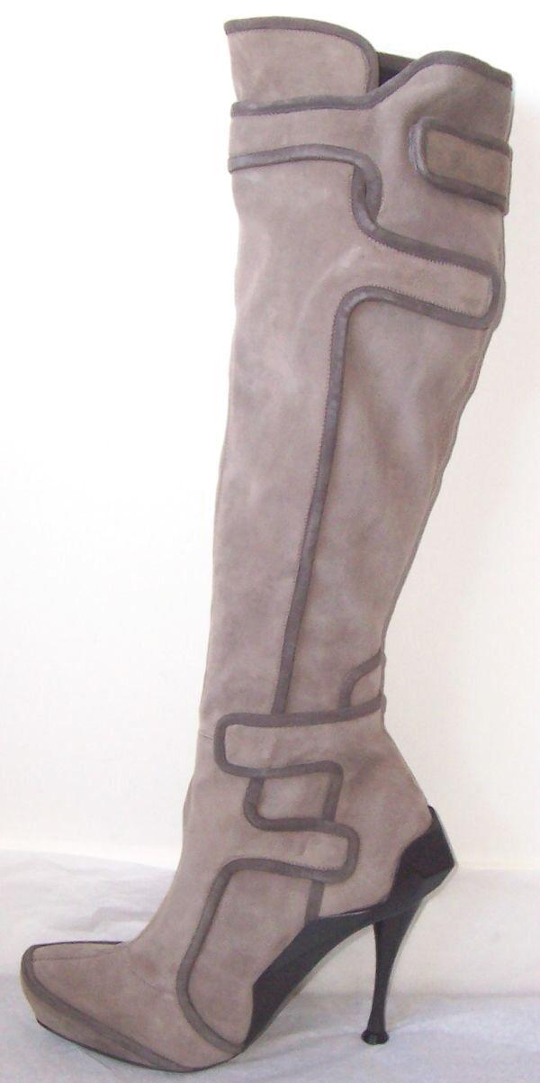 Celine Gamuza gris Pálido botas Taco De Cuero Negro 37 37 37 38.5 o al 40  mejor precio