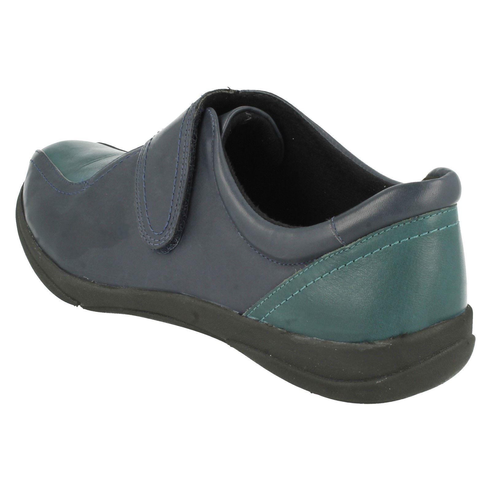 LADIES K BY CLARKS NAVY LEATHER FLAT CASUAL OAK RIPTAPE STRAP Schuhe ETNA OAK CASUAL b07208