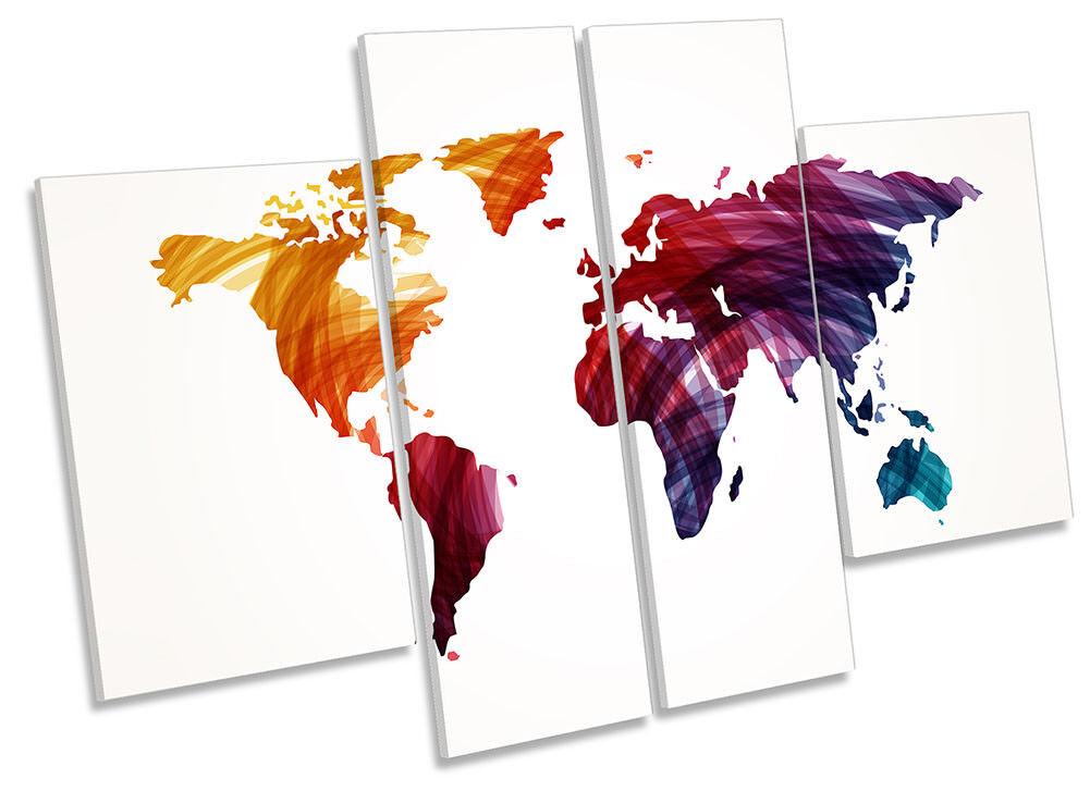 Mapa del impreso mundo lienzo enmarcado Color Multi panel impreso del cuatro Pa rojo  Arte 36f97d