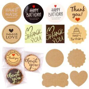 Thank you Handmade Kraft Paper Seal Sticker For Envelope Baking Sealing Lable