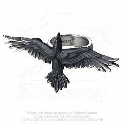 NEW ALCHEMY GOTHIC BLACK CONSORT RING  Raven Crow Impressive Poe Dark