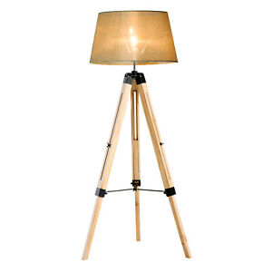 Wooden Adjustable Tripod Floor Lamp Ikea Style Living Room Bedroom