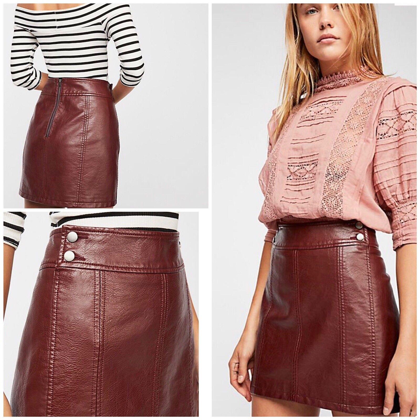 Free People Retro Vegan Bodycon Mini Skirt Size 10 NWT