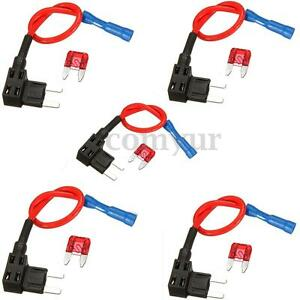 5-X-Add-A-Circuit-Mini-Blade-Fuse-Splice-Holder-ATM-APM-Piggy-Back-Fuses-Tap-12V