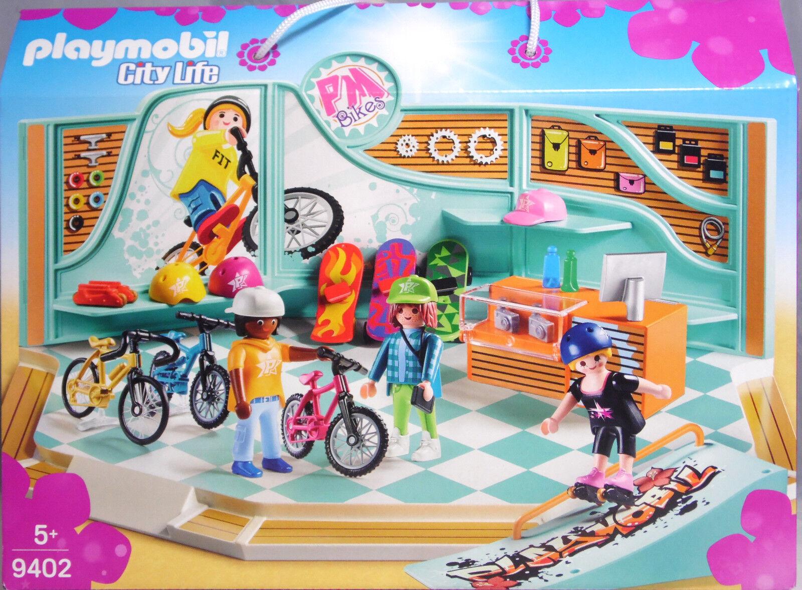 Playmobil 9402 Bike & Skate Shop Fahrräder Skateboards Rampe Inliner Helme NEU  | Auf Verkauf