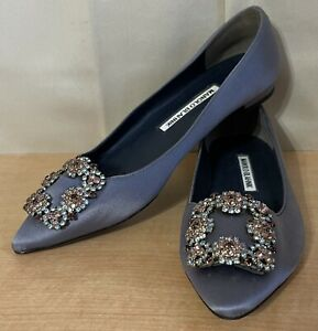Manolo Blahnik Hangisi Gray Satin Embellished Flats Ballerina Shoes Sz.37 US 7