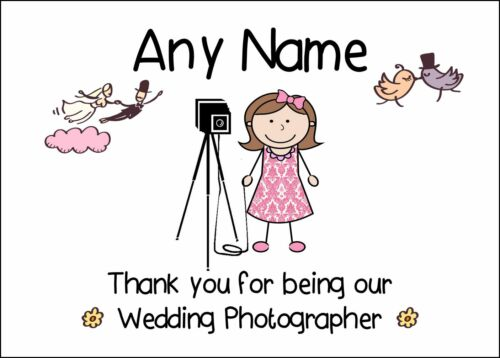 Thank You For Being Our Wedding Photographer Female Personalised Print