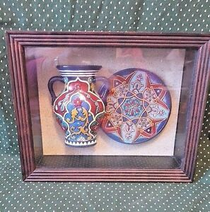 Asian Style Shadow Box, Brightly Colored Vase & Plate, China, Collectible Decor