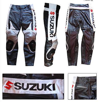 GSXR SUZUKI MEN LEATHER TROUSER MOTORBIKE//MOTORCYCLE LEATHER RACING TROUSER//PANT
