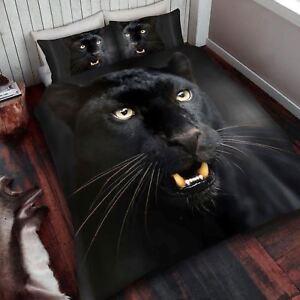 Noir-Panthere-Parure-Housse-de-Couette-King-Size-Neuf-Animal-Sauvage-Literie
