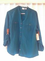 Kim Rogers Large Women's Blouse Turquoise Blue Pretty Detailed Arms Detail