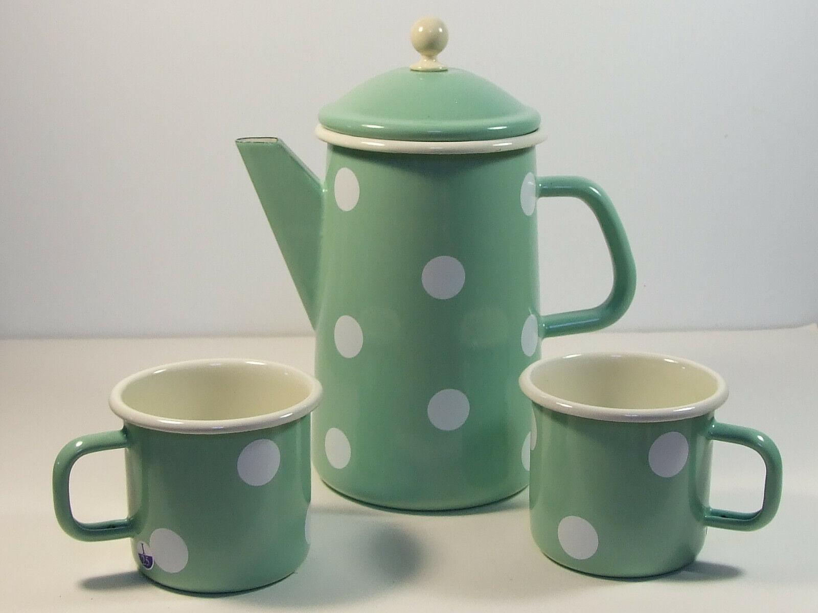 Email Enamel Coffee Pot Teapot 1,6 L and 2 Mugs MINT M. Polka Dot 3 Tlg Set