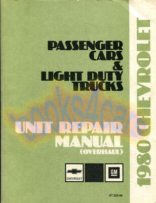 1980 Chevrolet Shop Manuale Unità Riparazione Libro