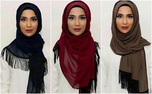 Women Wrapping Scarves Muslim Tassel Hijab Long Scarf Islamic Arab Shawl Shayla