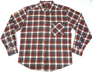 Woolrich-Mens-Medium-Plaid-Flannel-Shirt-Red-White-Blue-Long-Sleeve