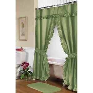 Image Is Loading Carnation Home Fashions Lauren Double Swag Shower Curtain